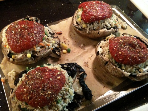 Quick Stuffed Portobello Mushrooms