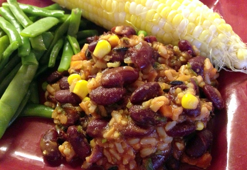 Red Beans and Rice Garden Dish Vegan Recipe