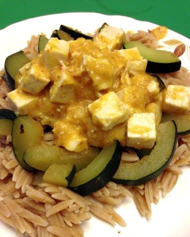 Orange Tofu and Zucchini over Orzo