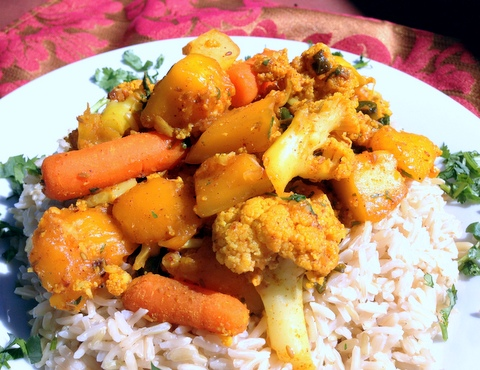 Sweet and Spicy Cauliflower, Carrots and Mango over Basmati Rice