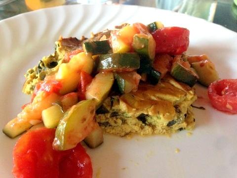 Leek and Spinach Frittata with Zucchini Sauce Garden Dish Vegan Recipe