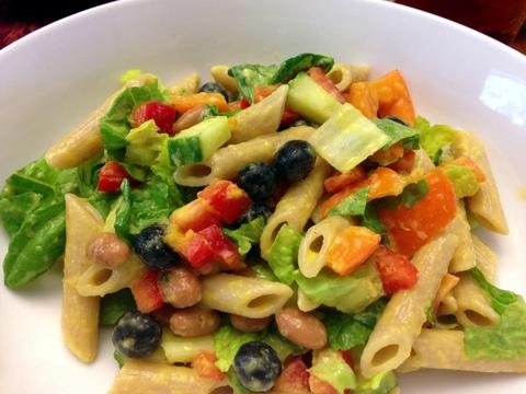 vegan pasta salad orange sesame plant based recipe