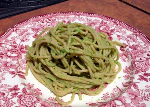 vegan spring tonic pasta broccoli peas plant based recipe