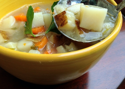 vegan soup slow cooker crockpot german plant based potato soup recipe