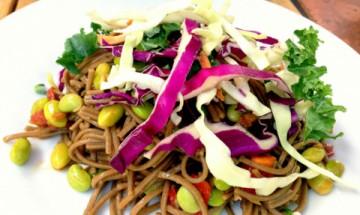 vegan udon noodle salad