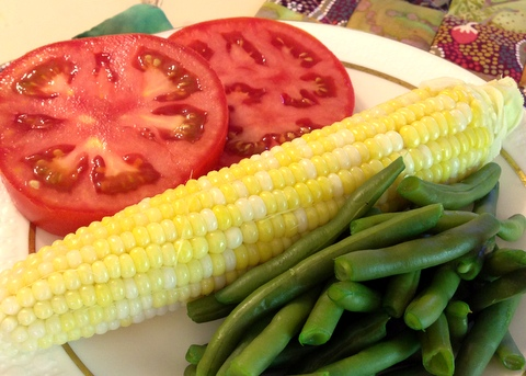 vegan corn tomatoes green beans