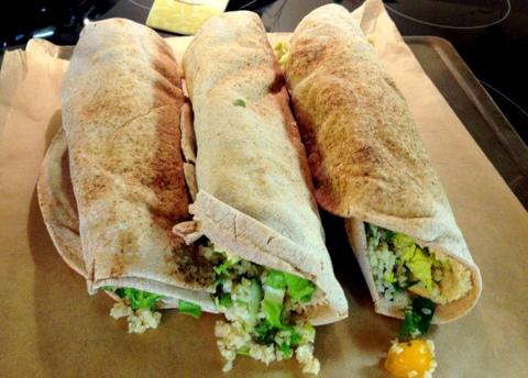 vegan tabouli pita sandwich