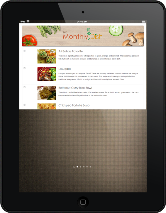 MonthlyDish Ipad