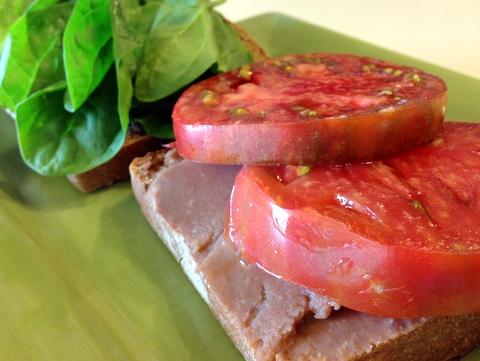 Refried Bean and Veggie Sandwiches Garden Dish vegan recipe