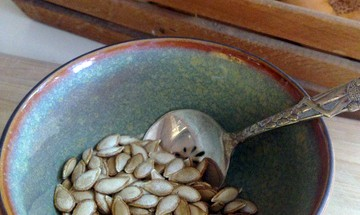 roasted butternut seeds in a bowl